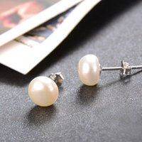 Wholesale Real Sterling Silver 925 Earings - Top Selling 925 Sterling Silver Earrings For Women Natural Freshwater Real Pearl Earrings Stud Earings Brincos