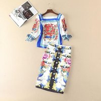 Wholesale Two Piece Dress Europe - The new Europe and the United States women's 2017 spring Royal printing jacket + bust skirt suit two-piece outfit
