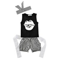 Wholesale Toddler Vest Outfit - 2017 Summer New Baby Girl Sets Letters Lips Black Vest+Stripe Shorts+Headbands 3pcs Outfits Toddler Clothing 0-18M 11001
