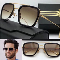 Man square d - New D T flight square frame coating mirror lens gold plated men brand designer UV400 lens retro style top quality logo sunglasses