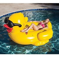 Wholesale Inflatable Kids Swimming Pool - 200cm Inflatable Yellow Sunglasses Duck Giant Pool Float Ride-On Swimming Ring Pool Party Summer Inflatable Water Toys Kids Adult Holiday