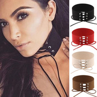 Wholesale Gothic Chokers Ribbon - 10 Colors Lace Choker Necklace Gothic Punk Grunge Tattoo Necklace Velvet Ribbon for Women Girls