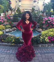 Wholesale velvet flower making - Afican Mermaid Deep V Neck Long Sleeves Burgundy Velvet Prom Dresses Ruffles Skirt 3D Flowers Hand Made Prom Gowns 2017 vestido de festa