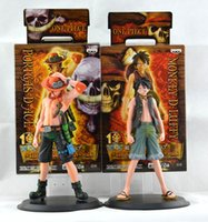 Wholesale One Piece Japan - Wholesale-17cm Japan anime one piece Monkey.D.Luffy Portagas D Ace pvc figure set,free shipping toys gifts1set=2pcs