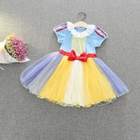 Wholesale Cinderella Snow New Cartoon - Ins 2017 Summer New Baby Girl Cartoon Dress Snow White Cinderella Alice Dots Princess Cosplay Dress Children Clothing MSG062