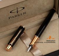 ingrosso imparare l'oro-Penna di fontana di metallo di Parker di spedizione libera Penne di eccedenza di affari della clip di oro nero di scrittura veloce degli articoli per ufficio della scuola di scrittura