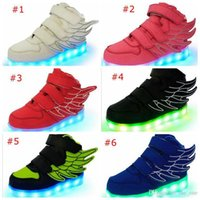 Wholesale Toddler Flats Sale - Kids Shoes Boys Girls Fashion LED Lights USB toddler Luminous Wings Sneakers Children Comfortable Flats Sports Top high football on Sale