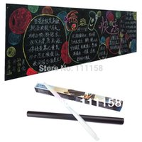 Wholesale Mini Chalk Boards - 100 PCS 45*200CM Removable Vinyl Chalkboard Wall Stickers, Mini PVC Blackboard Black Chalk Board Sticker With Retail Packaging