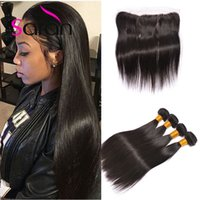 13x4 Lace Frontal Avec Straight Hair Bundles Peruvian Straight Virgin Hair Closure Boucle d'oreille à oreille Frontal Fermeture avec paquets