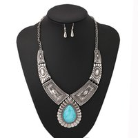 Wholesale Blue Turquoise Vintage Jewelry Sets Silver Big Choker Necklace Drop Earrings for Women Bohemian Jewelry Set