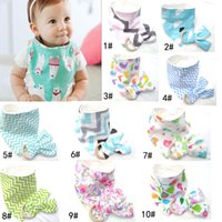 Wholesale New Bamboo Set - 10 Styles New Baby Bibs+Teething Ring Teeth Stick 2pcs Sets 100% Cotton bamboo fiber Infant Bibs Teething Ring Wooden Teething Training