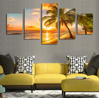Wholesale Glow Paint Oil - 5pcs set Unframed Coconut Sunset Glow Wall Art Oil Painting On Canvas Fashion And Impressionist Textured Paintings Picture Living Room Decor
