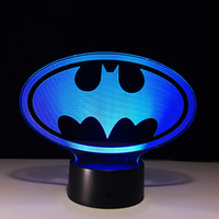 Wholesale Dropshipping Wedding - Batman 3D Illusion Night Lamp 7 RGB Colorful Lights USB Powered with AA Battery Bin Touch Button Wholesale Dropshipping