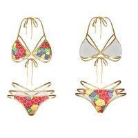 Wholesale Metallic Bikini Wholesale - 20set fashion Women's swimwear South African Dashiki Metallic Cutout High Waist Bikini SetsTankini Swimsuit beach clothes M06