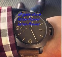 Wholesale Top Brand Divers Watches - Top Brand Mens Mechanical Watch Men's Special Pam386 Black Pvd Case Watches Men Calf Leather Pam 386 Divers Officine Sport Wristwatches