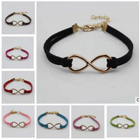 Wholesale Wholesale Charms For Infinity Bracelets - 16 colors infinity bracelets Fashion Hot Eight cross leather bangle bracelets jewelry for women top quality factory price