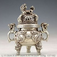 Wholesale Dragon Fans - Chinese hand-made old silver bronze dragon incense burner