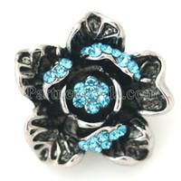Wholesale Metal Bell Charms - DIY Noosa Fashion flower Snap button crystal Metal Noosa bracelet gift ashion DIY Charms Crystal Christmas Bell Design noosa chunk KB8810