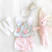 Wholesale ins baby summer clothes sets girl floral print lace top with matching pp pants sets kids cotton clothes suits