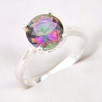 Wholesale Mystic Stone Rings - 10 Pieces 1 lot LuckyShine Bright Round Multi-Color Mystic Topaz Crystal Gem 925 Sterling Silver Rings Russia American Australia Crown Rings