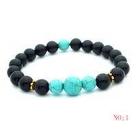 Wholesale Pcs Stretch Bracelet - 12pcs 2017 New 8mm Agate Beads Charms Bracelets colorful Beads Men Women Natural stone Stretch Bracelet Fashion Black Jewelry Gift 1 pcs Fre