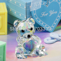 Wholesale 100pcs Baby Shower Favors Choice Crystal Collection Teddy Bear Figurines Blue Crystal Bear For Wedding favor