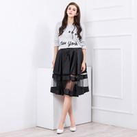 Wholesale Waist Hem Line - Black Satin With Sheer Hem Skirts Short A Line Sexy Under See Through Skirt Waist With Invisible Zipper