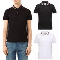 marques d'ourlet achat en gros de-Snake Embroidery Collar Polo Top Hommes 2017 NOUVEAU Marque Hot Sale Tops Shortsleeved Coton Casual Split Hem Polo Shirts