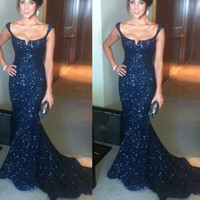 Wholesale Sequin Brooch Green - 2017 Navy Blue Evening Dresses Mermaid Scoop Shiny Lace Sequins Sleeveless Court Train Sexy Prom Gowns