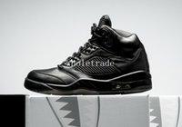 Wholesale Mens Leather Suits - air retro 5 PRM Triple Black basketball shoes Mens air retro 5 Premium Black air retro 5 Flight Suit Sneakers size US 8-13