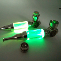 горячие трубы оптовых-Wholesale- Hot 1pc Metal Pipe Covered With Led Flash Pipe Smoking Pipe Smokers Package Five Screen Vanilla