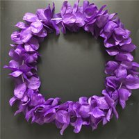 Wholesale Purple Necklace Display - 100pcs Purple Hawaiian Hula Leis Festive Party Garland Necklace Flowers Wreaths Artificial Silk Wisteria Garden Hanging Flowers