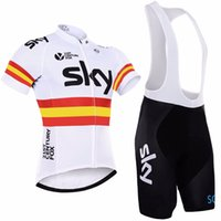 pantalon termico blanco al por mayor-2017 SKY Team Pro Cycling Jersey + Bib Shorts Cycling Set Bicicleta para hombres Ropa de ciclismo Ropa Camisas al aire libre, Gel Pad, XXS - 4XL. D012
