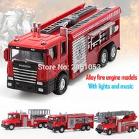 Wholesale Light For Fire Truck - Hot Sell 1pcs 16cm fire fighting truck toy for kids With Light & Music alloy car model Christmas gift for child
