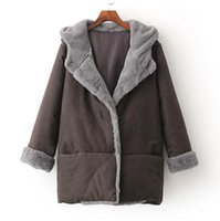 Wholesale Casual Faux Fur Hooded Pad - 2016 Europe Fashion Women's Winter Coat Faux Fur Patchwork Lady's Outwear Warm Coats Hooded Cotton Padded Jackets Coffee Black