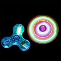 Wholesale Mini Speaker Led Crystal - bluetooth speaker led fidget Light Up hand spinner Fingertips spinner Transparent Crystal Hand Spinners bluetooth speaker