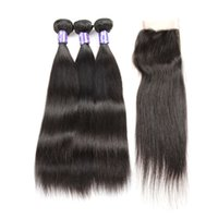 Unprocessed Brazilain Virgin Human Silky Straight Hair 4x4 Lace Frontal Clousre Com 3 pcs Bundles Color 1B Natural Wet And Wavy Vendors 8A