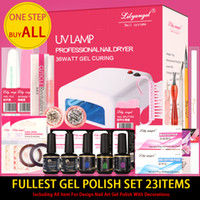 Wholesale Gel Nail Full Set Kit - Wholesale- Lily angel Fullest Nail Art Starter Kit For Pro. Nail Art DIY Nail Beauty Full Set Including 23 Items With Gel Polish Top Base