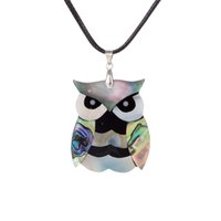 Wholesale Owl Necklace Korea - New Design Cartoon Silver Plated Carved Night Owl Abalone Shell Retro Bohemian Rhinestone Pendant Brass Buckle Black Korea Wax Necklace