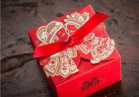 chinês casamento fita venda por atacado-50 pçs / lote Barato Wedding Favor Boxeswith Ribbon Casamento Vermelho Chinês Caixa De Doces De Casamento Favores Do Casamento E Caixas de Presentes