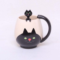 Wholesale Pig Cups - Wholesale- Hand-painted Coffee Cup,Lovely Panda Frog Cat Pig Ceramic Mug Teacup include teaspoon