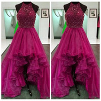 Wholesale Ladies Cheap High Tops - Burgundy Beaded Top High Low Prom Dress Organza Hi-Lo Formal Sequins Ruched Ladies Evening Party Gown Cheap Online Vestidos De Soiree 2017