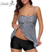 Wholesale Tankini Skirted Swimsuit - 2017 Sexy Black Striped Tankinis Swimsuit Women Plus size Two Pieces Swimwear Fat MM Tankini Bikini set Bathing Suit With Skirt