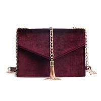 Wholesale Red Velvet Material - Velvet material messenger women designer bag 2017 winter high quality luxury brand women hand bag best price