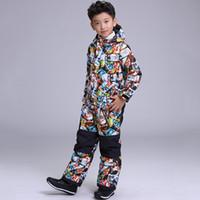Wholesale Kids Thermal Pants - Wholesale- 2018 Boys Ski Suit Snowboard Jacket Pant Thermal Winter Clothing Waterproof Windproof Sport Wear Skiing Riding Kids Children Set
