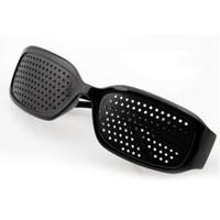 Wholesale pin hole eyeglasses resale online - Unisex Vision Care Pin hole Eyeglasses Pinhole Glasses Eye Exercise Eyesight Improve plastic Black Color oculos de sol