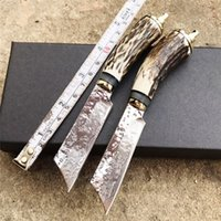 Wholesale Damascus Knife Antler - 150mm Dama Style Collection fixed blade Antlers Damascus Steel Knives,Handmade Small Hunting Knife Outdoor Hiking knife