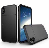 ingrosso portafoglio per porta slide iphone-Custodia per SGP spigen Custodia per scheda scorrevole Portafoglio ID Custodia Dual Layered -ShoAntick Protector per iPhone X S R max 8 plus 7 plus Samsung s10 s9 s8 note9