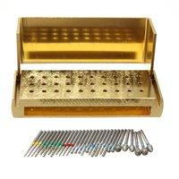 Wholesale Dental Diamonds Burs - 30 Pcs Dental Diamond Burs Drill + Disinfection Bur Block High Speed Handpieces