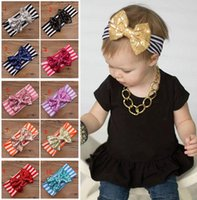 Wholesale Handmade Baby Headbands Bows Accessories - New Fashion girls Bow headbands baby sequins bowknot headband girls Striped cotton headbands Handmade baby Accessories 11colors 8.5*6cm